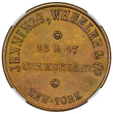 1860 n c folger son jennings wheeler ny 393 ngc ms64 new a very scarce muling of the sought after folger son obverse from new orleans featuring a bird over a nest feeding young paired jennings wheeler of