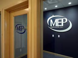 reception area logo and office door lettered