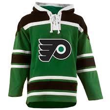flyers green jersey mens philadelphia flyer old time orange lace heavyweight hoodie
