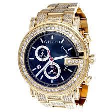 men s diamond gucci watches diamond gucci ya101334 watch 9 50 ct new custom mens 101 g gold pvd real 44 mm