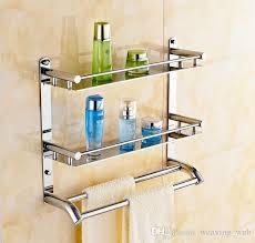 towel hanger. 40cm Multifunctional Towel Holder High Bearing Luxury Bathroom Stainless Steel Rack Bilayer Wall Mounted Hanger