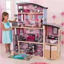 barbie size wooden dollhouse w furniture girls playhouse doll play house gift barbie furniture for dollhouse