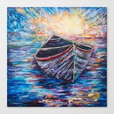 wooden boat at sunrise original oil painting with palette knife society6 decor boat canvas print