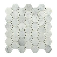 hexagon white carrera 12 in x 12 in x 8 mm floor and wall
