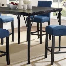 biony nailhead counter height espresso wood dining table with metal frame brown today overstock 18270930