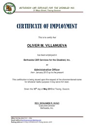 Certificate Of Employment Sample For Visa Application Image