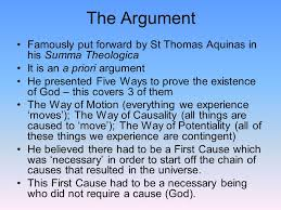 the first cause cosmological argument ppt video online the argument famously put forward by st thomas aquinas in his summa theologica it is