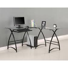 walker edison l shaped black glass computer desk 1 black glass office desk 1
