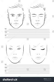 face chart makeup artist blank template men and woman vector ilration