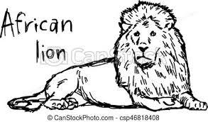 スケッチ 隔離された イラスト 手 ライン ライオン ベクトル 黒い背景 アフリカ 引かれる 白