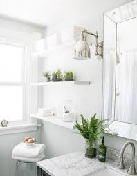 bathroom, Glossy Pure White Furniture With Chic Fresh Bathroom Plant Decor  Inspiration On Marble Countertop