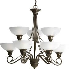 progress lighting pavilion collection 9 light antique bronze chandelier with etched watermark glass shade
