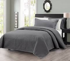 pcs solid modern quilted coverlet set (king charcoal  ease