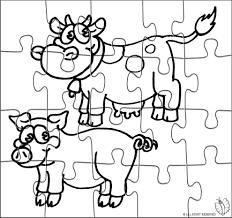 Disegno Di Puzzle Di Animali Della Fattoria Da Colorare Per Bambini