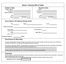 Printable Automobile Bill Of Sale Sample Auto Bill Sale Template Motor Vehicle Of Automobile Word