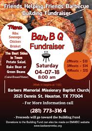 Memorial Fundraiser Flyer Barbers Memorial Missionary Baptist Church Barbecue Building Fundraiser