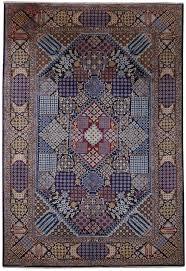 isfahan sophisticated navy blue geometric 10 x 14 persian rug handmade rug
