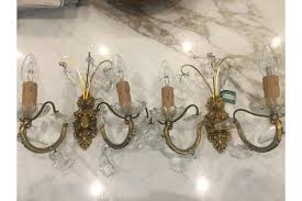 stunning pair hollywood regency french tole crystal drop brass sconces wall lights 1950s rewired uk