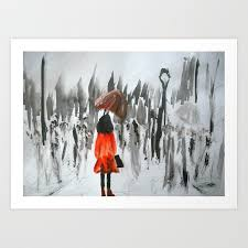 the girl in the red rain coat part 3 fine art acrylic painting art print