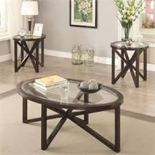 Coaster 3 Piece Glass Top Coffee Table Set In Cappuccino