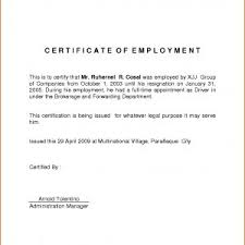 Employment Certificate Sample For Sample Certificate Employment