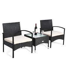 3 piece patio wicker rattan furniture