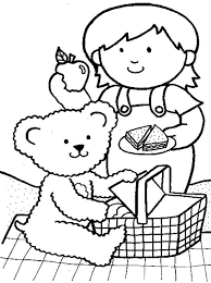 Small Picture Little Girl Going Picnic with Her Teddy Bear Coloring Page NetArt