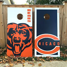 chicago bears bean bag toss game custom boards wood crafts wood corn hole bears board ideas wood working man cave hand painted bean bags chairs in bulk