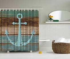 brown and aqua shower curtain. nautical anchor rustic wood - shower curtain water, soap, and mildew resistant brown aqua