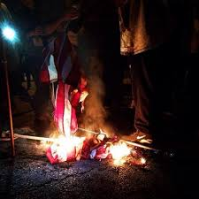 "ferguson saint louis protestors burn the usa flag ""this is not  saint louis flag burning 2 saint louis flag burning 4"