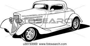 Clip Art Of Illustration Lineart Classic Car Auto Automobile