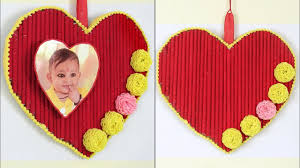 diy how to make heart shaped photo frame wall hanging photo frame home decor handmade craft