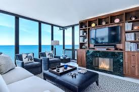 contemporary sunroom furniture. View In Gallery Stunning Sunroom With Walnut Entertainment Center And Ocean Views [Design: NEFF Of Chicago Custom Contemporary Furniture