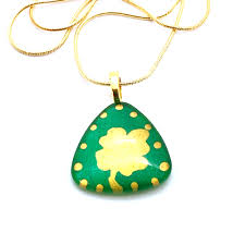 gold triangle four leaf clover necklace