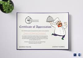 Certificate Of Appreciate Catering Thank You Certificate Template