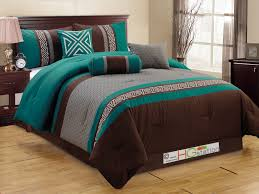 11 pc embroidery quilted triangle meander greek key pleated comforter curtain set queen teal blue gray brown com