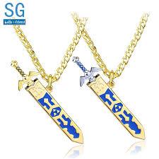 whole sg legend of zelda necklaces master sword triforce hylian shield majora mask breath wild eye pendants keyring men jewelry gift custom jewelry gold