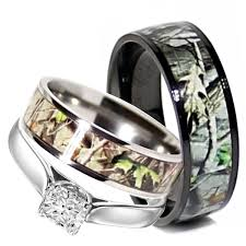 Camo Wedding Rings Sets For Her
