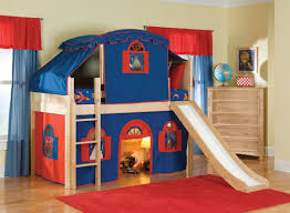 ... Fascinating Beds For Boys Bedroom Design Ideas : Comfortable Blue And  Red Sheme Bunk Bed For ...