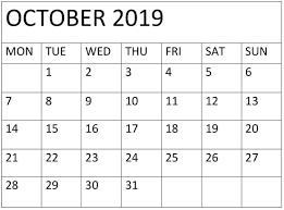 October 2019 Calendar Chart Free Latest Calendar Holidays