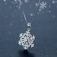lovely diamond studded snowflake pendant silver cute clavicle chain necklace winter style cool fashion necklace