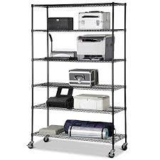 yaheetech heavy duty black commercial 6 tier shelf adjule steel wire metal shelving rack