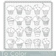 Small Picture Cupcakes Coloring Page this is a printable PDF coloring page