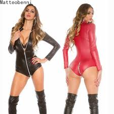 <b>Sexy wetlook Lingerie</b> Women <b>Latex</b> Catsuit Faux Leather Front ...