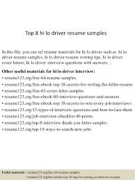 Top 8 Hi Lo Driver Resume Samples