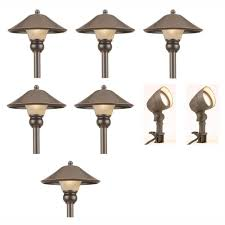 hampton bay low voltage bronze outdoor integrated led landscape path light and flood light kit