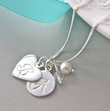 sterling silver initial pendant rock crystal and white fresh water pearl birthstones by claudette worters