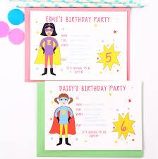 Children Birthday Invitations Superhero Girl Childrens Party Invitations