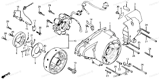 Honda motorcycle 1981 oem parts diagram for left crankcase cover alternator partzilla