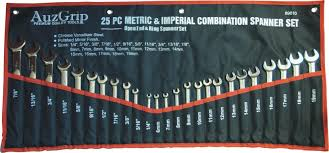 Metric To Imperial Spanner Chart A89610 Auzgrip Spanners And Spanner Set 25 Pc Combination Spanner Set Metric Mm Imperial Af Crv 89610